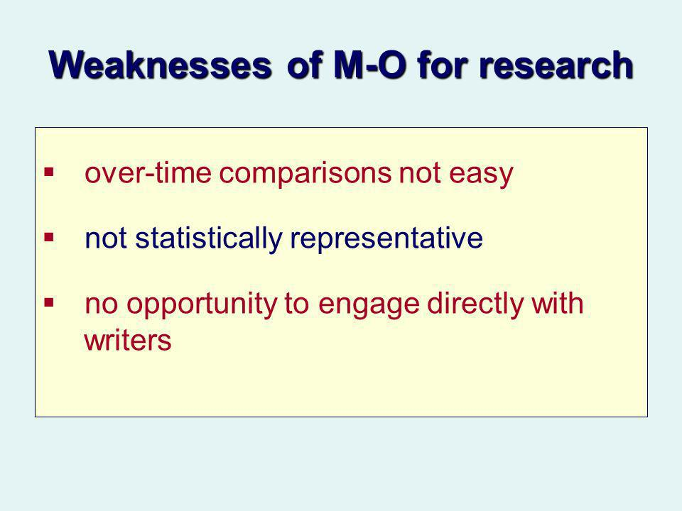 Weaknesses of M-O for research over-time comparisons not easy not statistically representative no opportunity to engage directly with writers