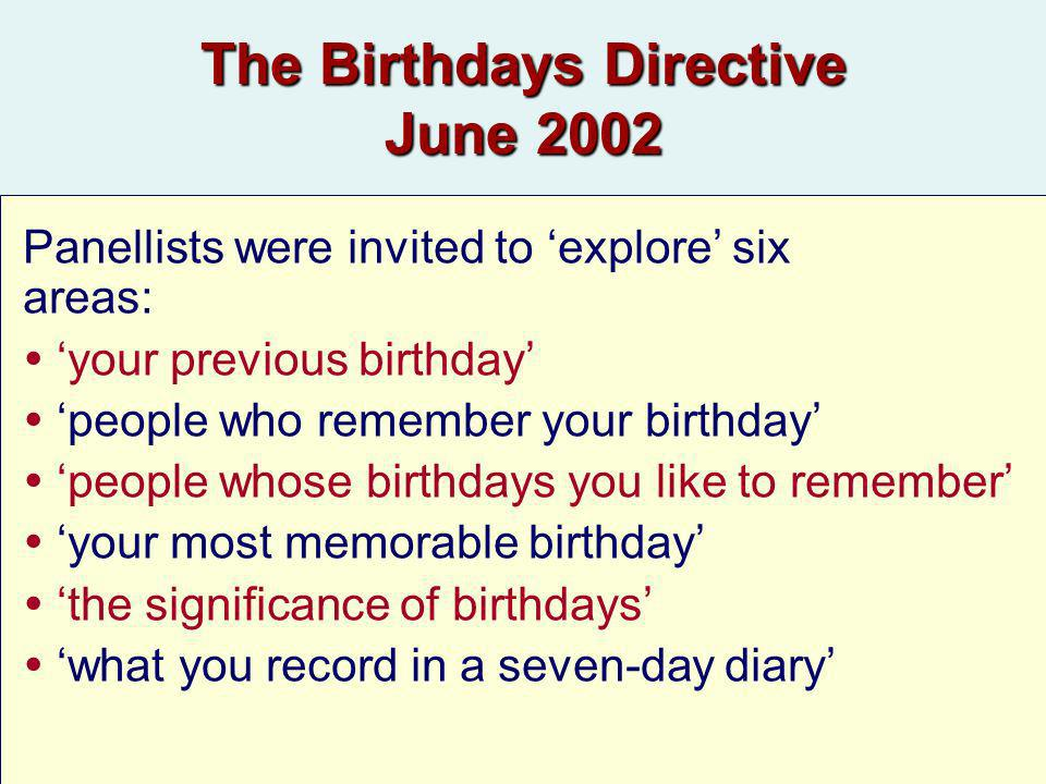 The Birthdays Directive June 2002 Panellists were invited to explore six areas: your previous birthday people who remember your birthday people whose