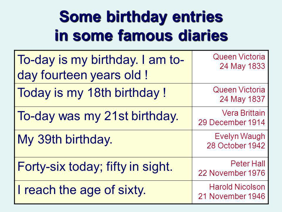 Some birthday entries in some famous diaries To-day is my birthday.