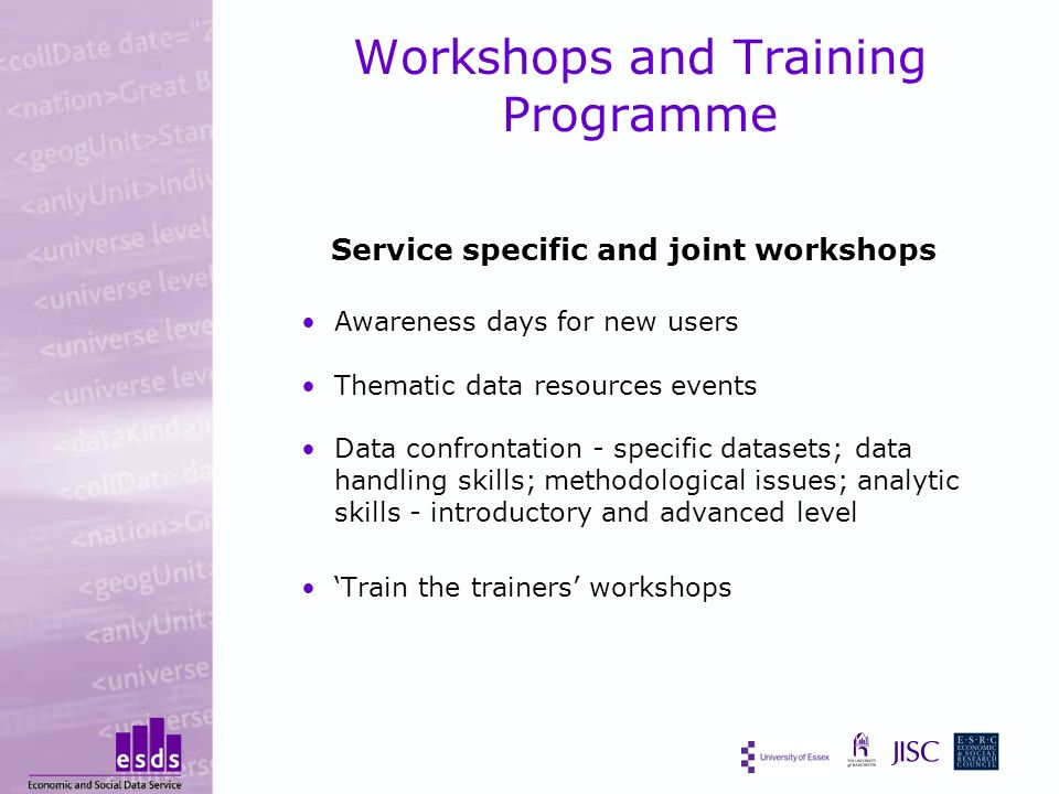 Workshops and Training Programme Service specific and joint workshops Awareness days for new users Thematic data resources events Data confrontation - specific datasets; data handling skills; methodological issues; analytic skills - introductory and advanced level Train the trainers workshops
