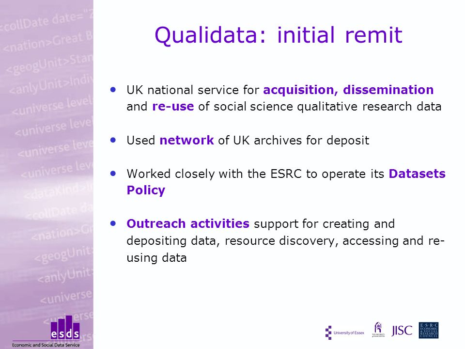 Qualidata: initial remit UK national service for acquisition, dissemination and re-use of social science qualitative research data Used network of UK archives for deposit Worked closely with the ESRC to operate its Datasets Policy Outreach activities support for creating and depositing data, resource discovery, accessing and re- using data
