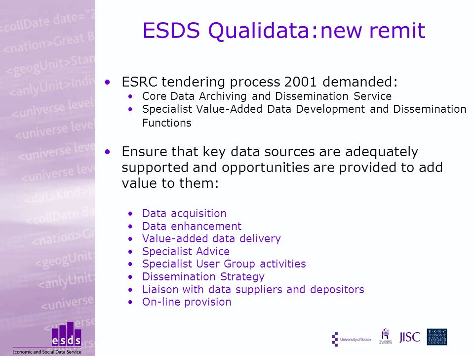 ESDS Qualidata:new remit ESRC tendering process 2001 demanded: Core Data Archiving and Dissemination Service Specialist Value-Added Data Development and Dissemination Functions Ensure that key data sources are adequately supported and opportunities are provided to add value to them: Data acquisition Data enhancement Value-added data delivery Specialist Advice Specialist User Group activities Dissemination Strategy Liaison with data suppliers and depositors On-line provision