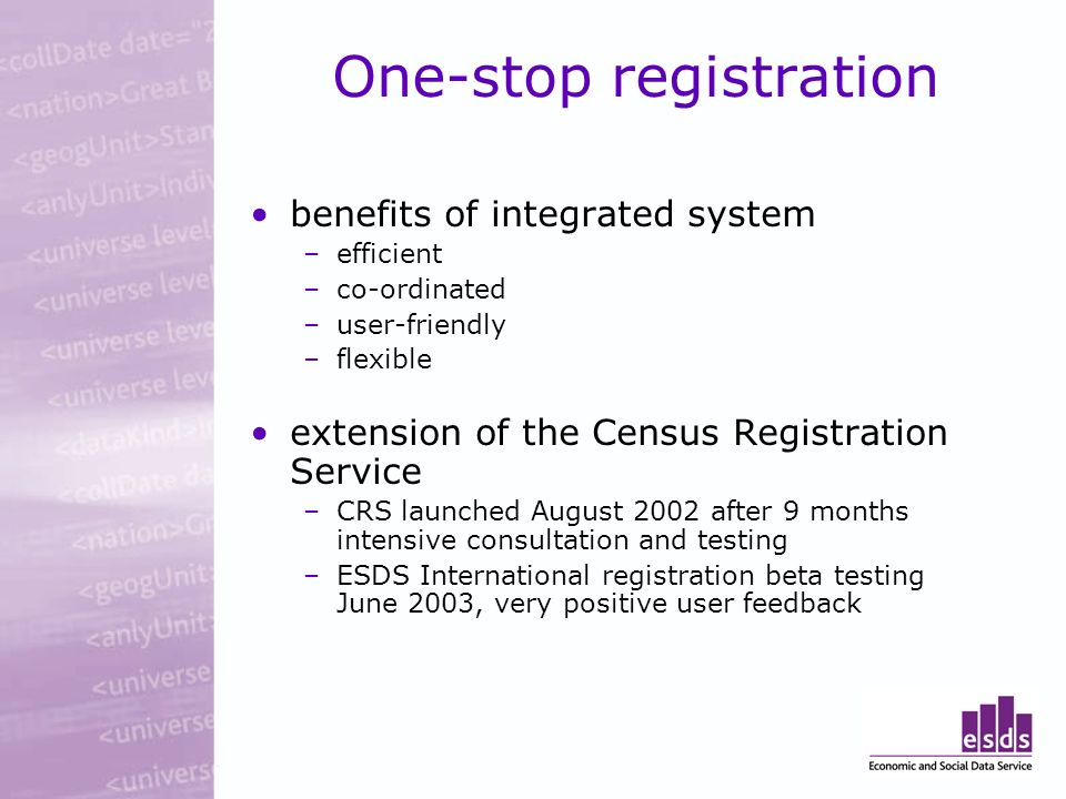 One-stop registration benefits of integrated system –efficient –co-ordinated –user-friendly –flexible extension of the Census Registration Service –CRS launched August 2002 after 9 months intensive consultation and testing –ESDS International registration beta testing June 2003, very positive user feedback