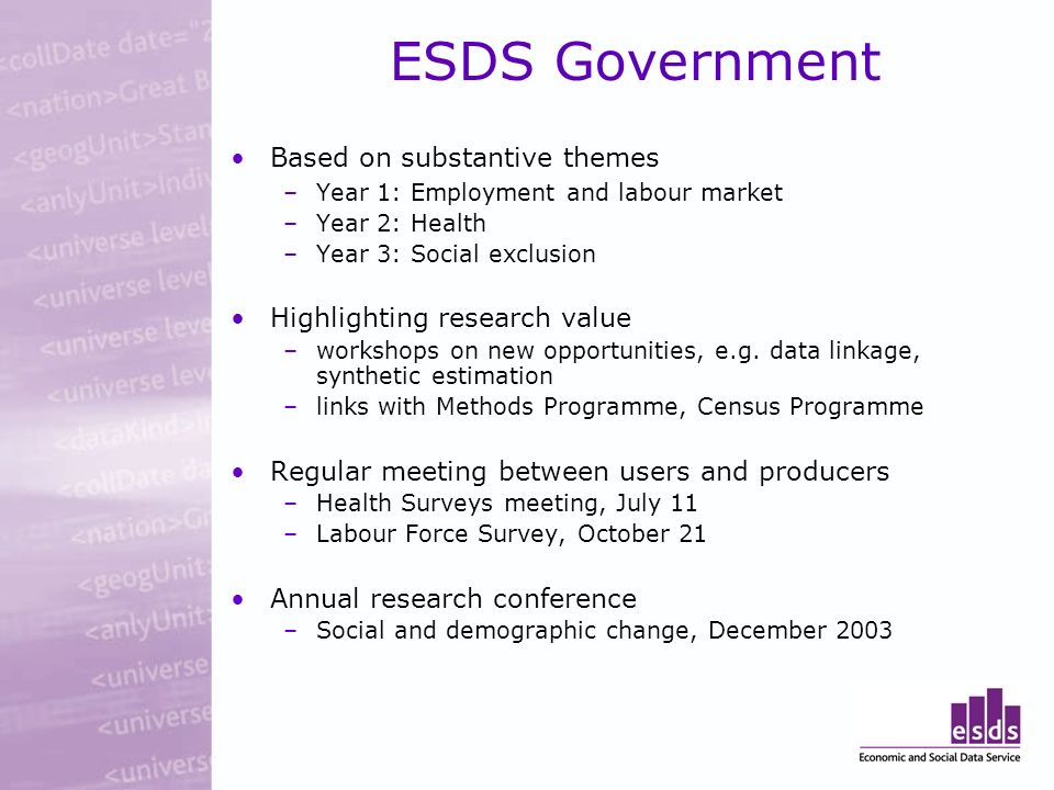 ESDS Government Based on substantive themes –Year 1: Employment and labour market –Year 2: Health –Year 3: Social exclusion Highlighting research value –workshops on new opportunities, e.g.