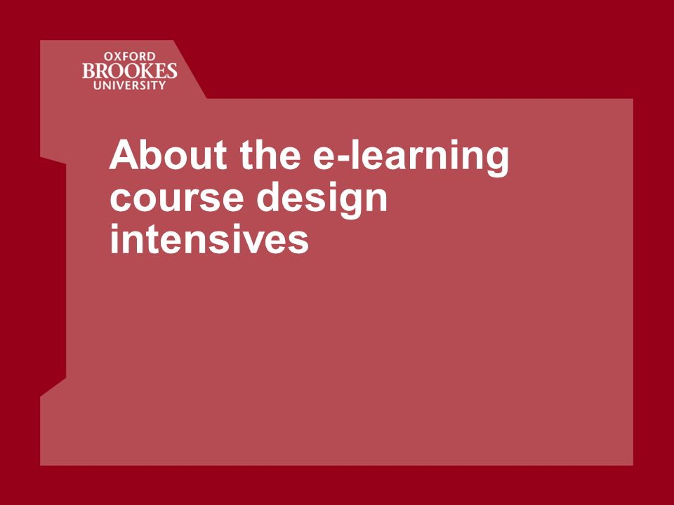 About the e-learning course design intensives