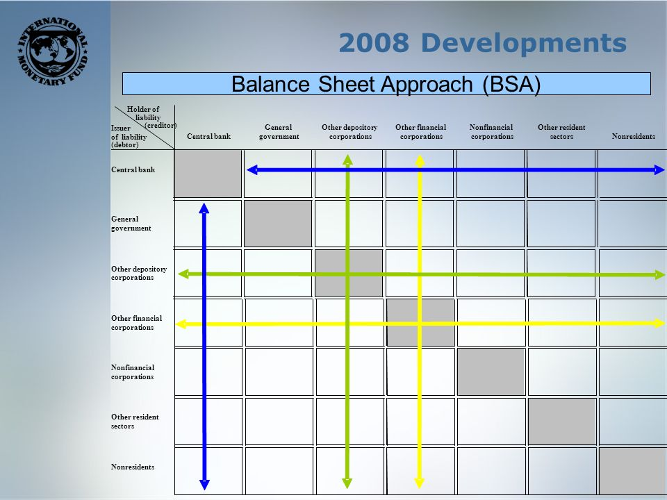2008 Developments GeneralOther depositoryOther financialNonfinancialOther resident Central bankgovernmentcorporations sectorsNonresidents Central bank General government Other depository corporations Other financial corporations Nonfinancial corporations Other resident sectors Nonresidents Holder of liability (creditor) Issuer of liability (debtor) Balance Sheet Approach (BSA)