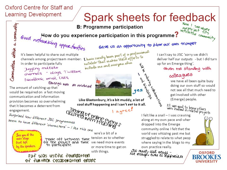 Oxford Centre for Staff and Learning Development Spark sheets for feedback Its been helpful to share out multiple channels among project team members in order to participate fully The amount of catching up that would be required on a fast moving communication and information provision becomes so overwhelming that it becomes a deterrent from engagement.