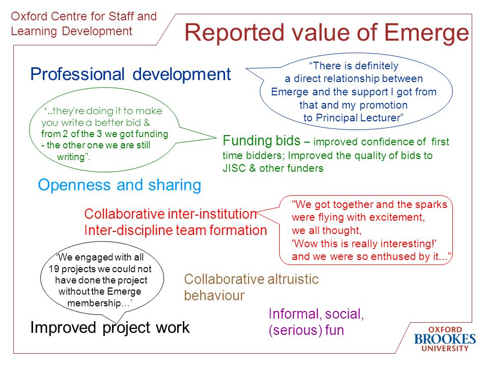 Oxford Centre for Staff and Learning Development Reported value of Emerge There is definitely a direct relationship between Emerge and the support I got from that and my promotion to Principal Lecturer Professional development Funding bids – improved confidence of first time bidders; Improved the quality of bids to JISC & other funders Collaborative inter-institution Inter-discipline team formation We got together and the sparks were flying with excitement, we all thought, Wow this is really interesting! and we were so enthused by it... ..they re doing it to make you write a better bid & from 2 of the 3 we got funding - the other one we are still writing.