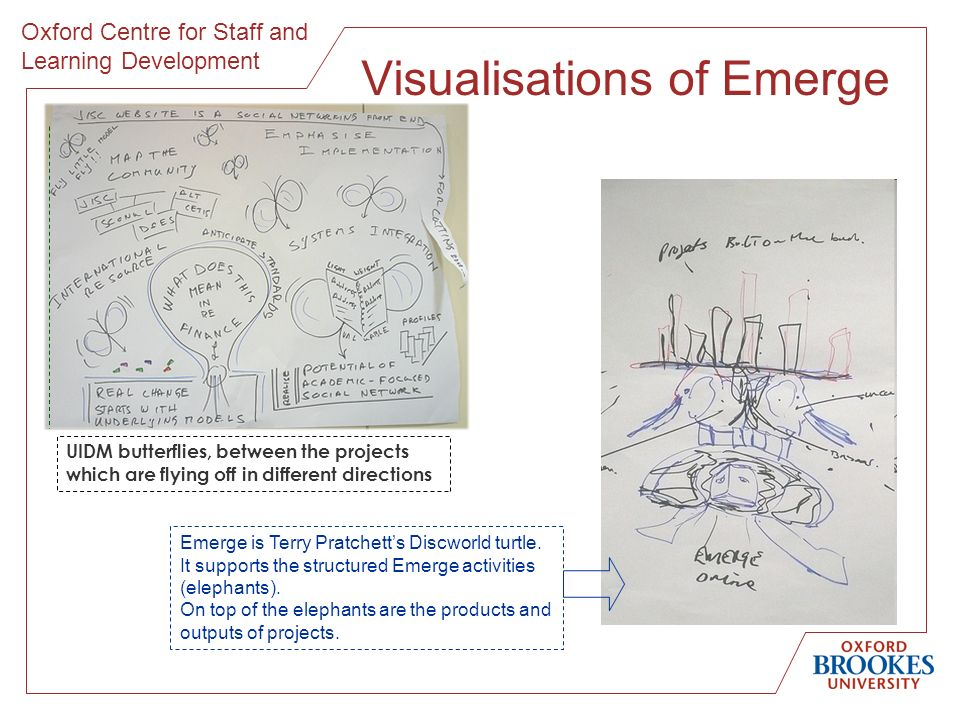 Oxford Centre for Staff and Learning Development Visualisations of Emerge Emerge is Terry Pratchetts Discworld turtle. It supports the structured Emer
