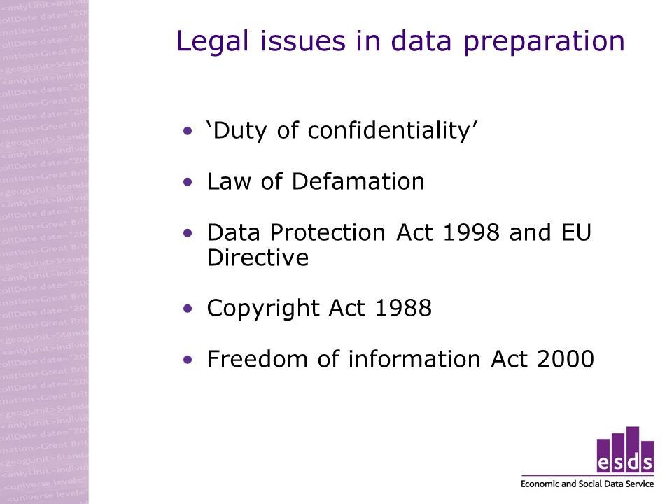 Legal issues in data preparation Duty of confidentiality Law of Defamation Data Protection Act 1998 and EU Directive Copyright Act 1988 Freedom of information Act 2000