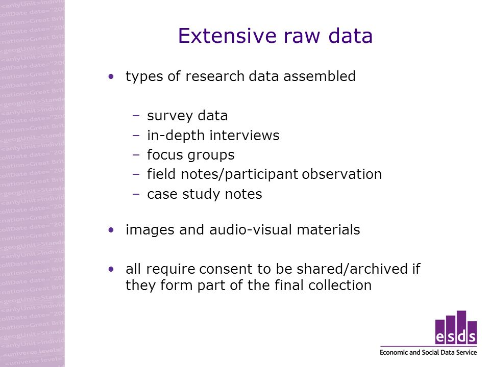 Extensive raw data types of research data assembled –survey data –in-depth interviews –focus groups –field notes/participant observation –case study notes images and audio-visual materials all require consent to be shared/archived if they form part of the final collection