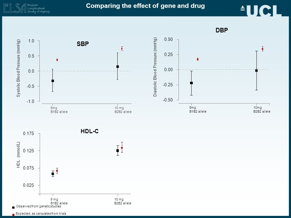 Comparing the effect of gene and drug Observed from genetic studies Expected, as calculated from trials DBP 5mg B1B2 allele 10mg B2B2 allele -0.50 -0.