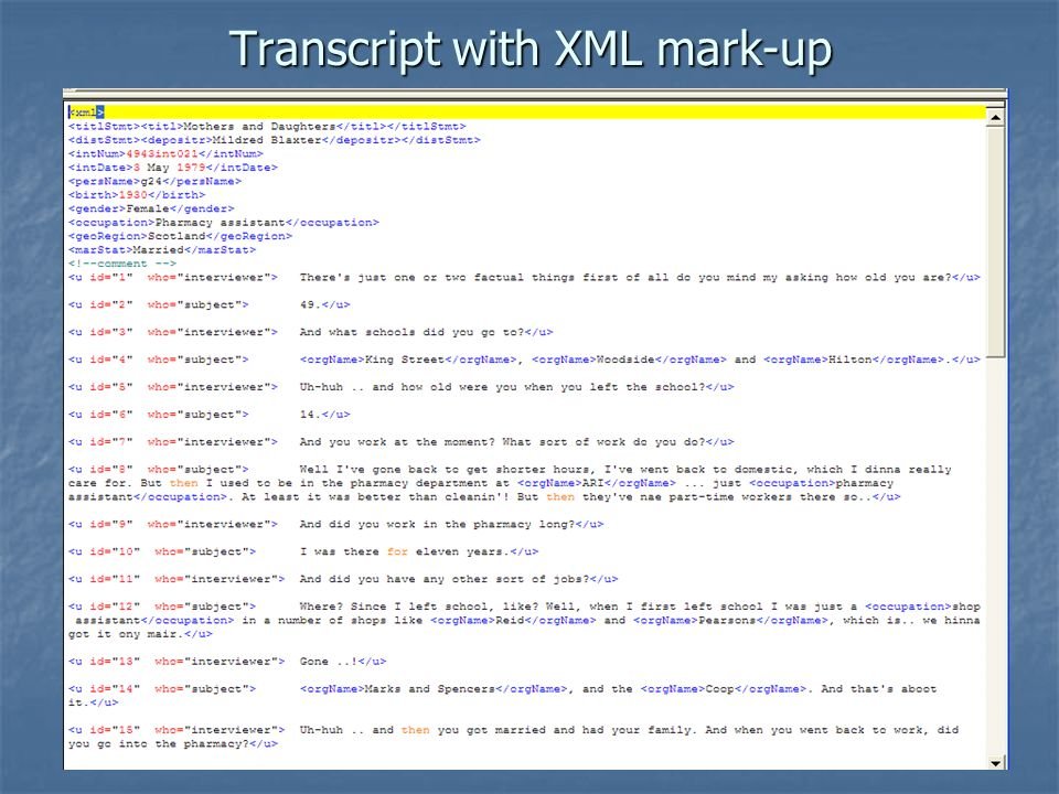 21 Transcript with XML mark-up