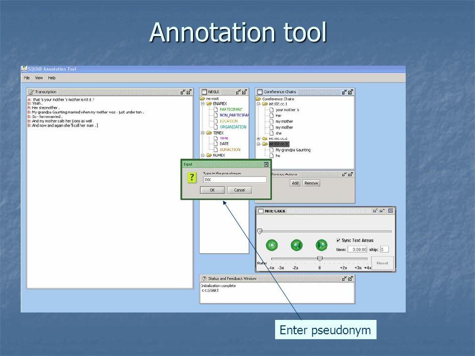 Annotation tool Enter pseudonym