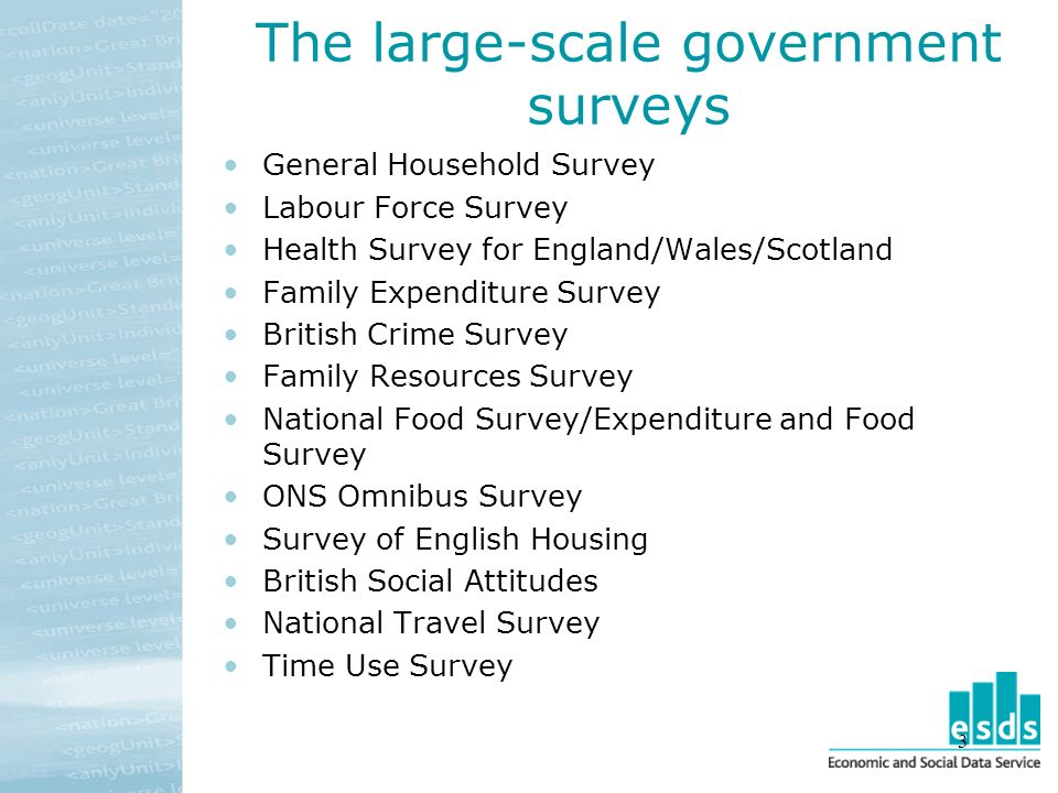 3 The large-scale government surveys General Household Survey Labour Force Survey Health Survey for England/Wales/Scotland Family Expenditure Survey British Crime Survey Family Resources Survey National Food Survey/Expenditure and Food Survey ONS Omnibus Survey Survey of English Housing British Social Attitudes National Travel Survey Time Use Survey