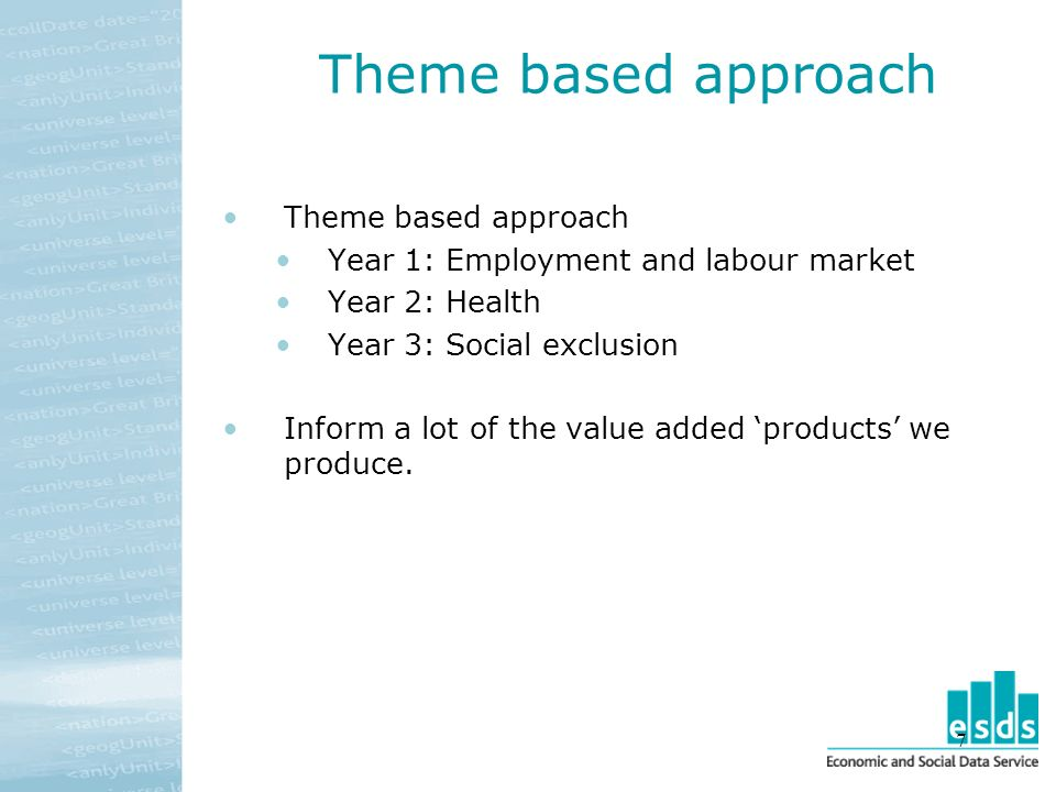 7 Theme based approach Year 1: Employment and labour market Year 2: Health Year 3: Social exclusion Inform a lot of the value added products we produce.