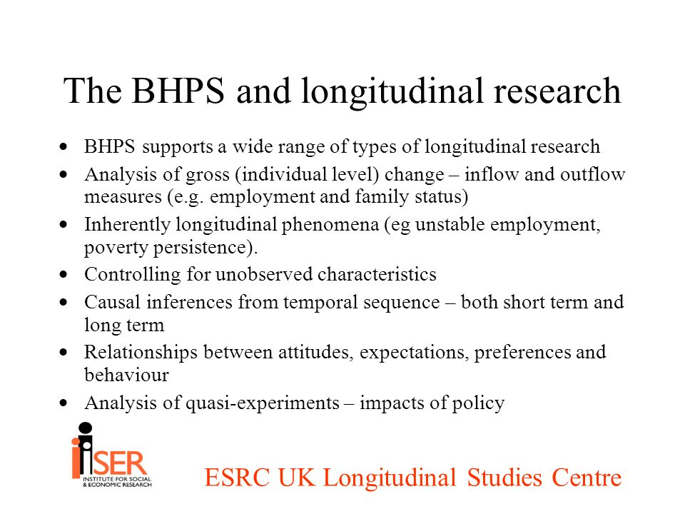 ESRC UK Longitudinal Studies Centre The BHPS and longitudinal research BHPS supports a wide range of types of longitudinal research Analysis of gross