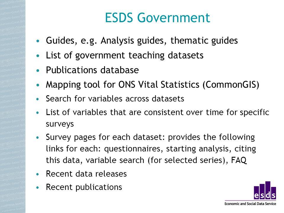 ESDS Government Guides, e.g.