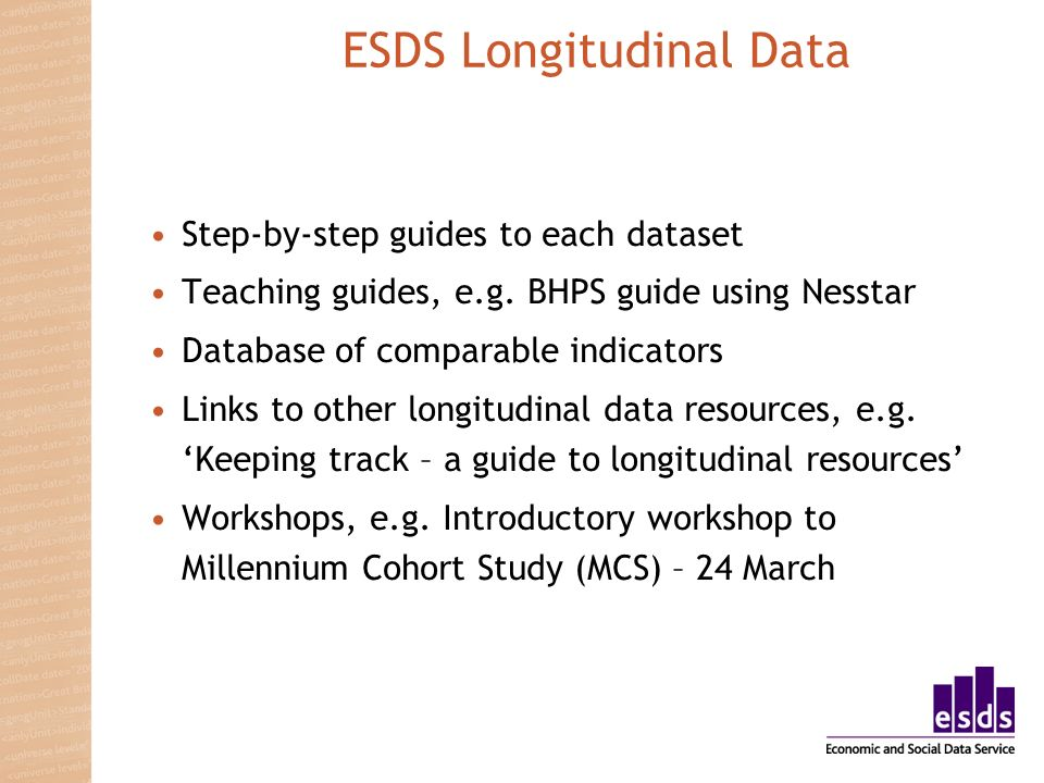 ESDS Longitudinal Data Step-by-step guides to each dataset Teaching guides, e.g.