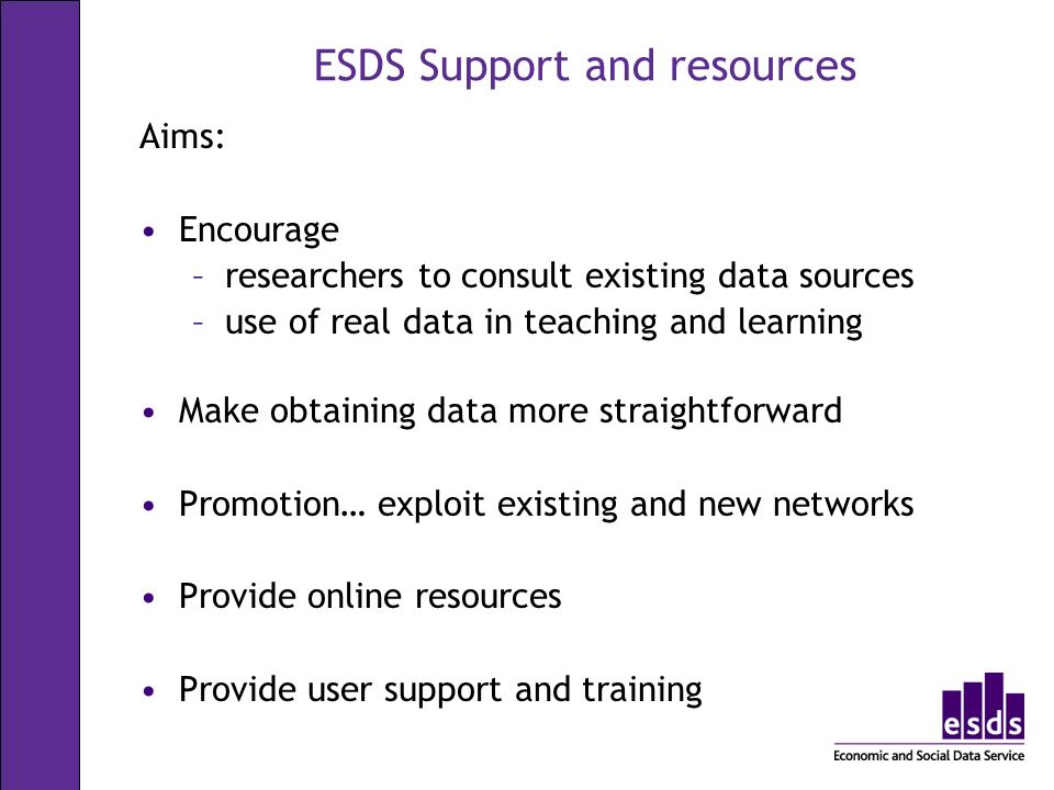 ESDS Support and resources Aims: Encourage –researchers to consult existing data sources –use of real data in teaching and learning Make obtaining data more straightforward Promotion… exploit existing and new networks Provide online resources Provide user support and training