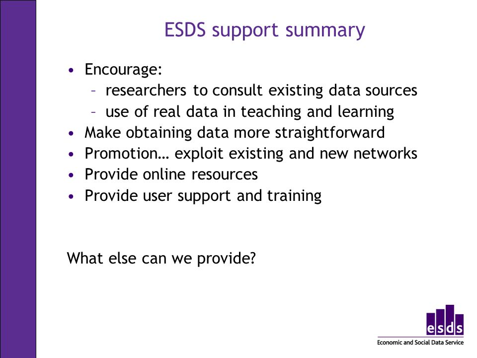 ESDS support summary Encourage: –researchers to consult existing data sources –use of real data in teaching and learning Make obtaining data more straightforward Promotion… exploit existing and new networks Provide online resources Provide user support and training What else can we provide