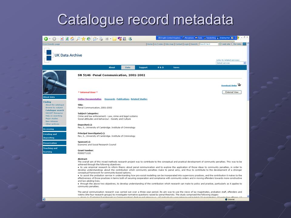 Catalogue record metadata