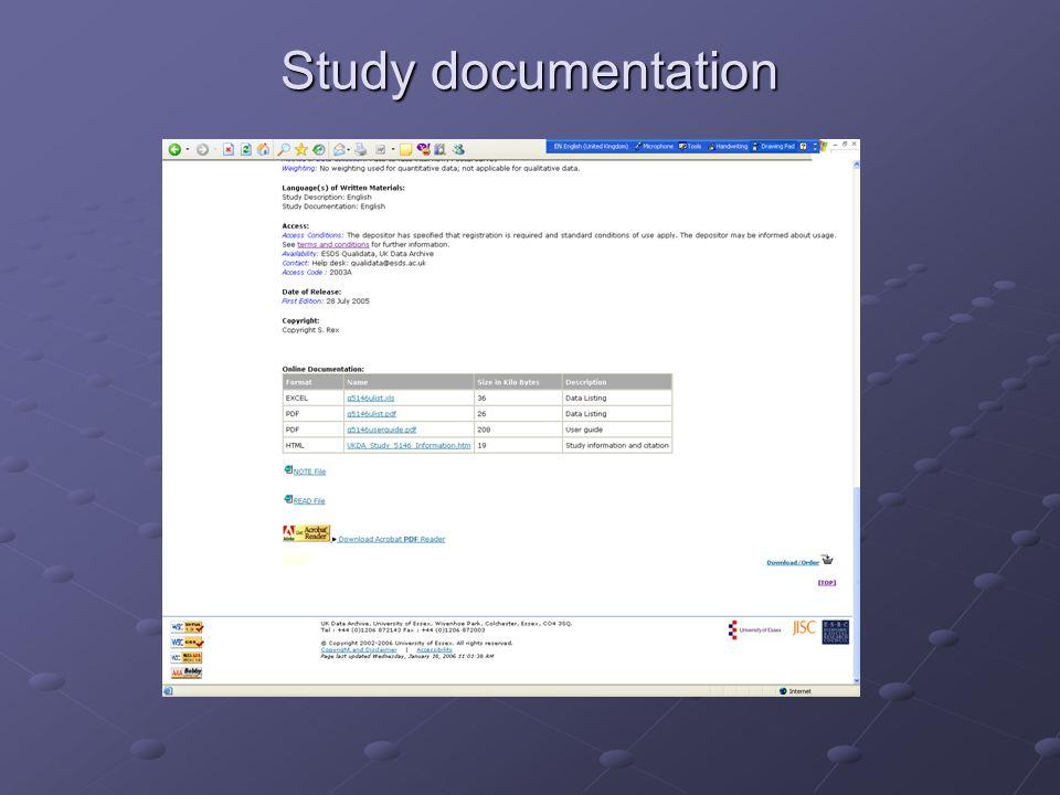 Study documentation