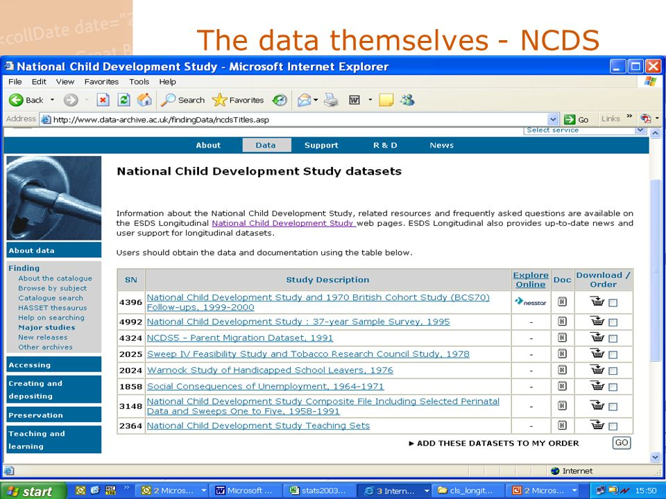 The data themselves - NCDS