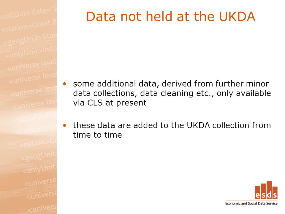 Data not held at the UKDA some additional data, derived from further minor data collections, data cleaning etc., only available via CLS at present these data are added to the UKDA collection from time to time