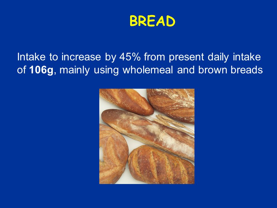 BREAD Intake to increase by 45% from present daily intake of 106g, mainly using wholemeal and brown breads