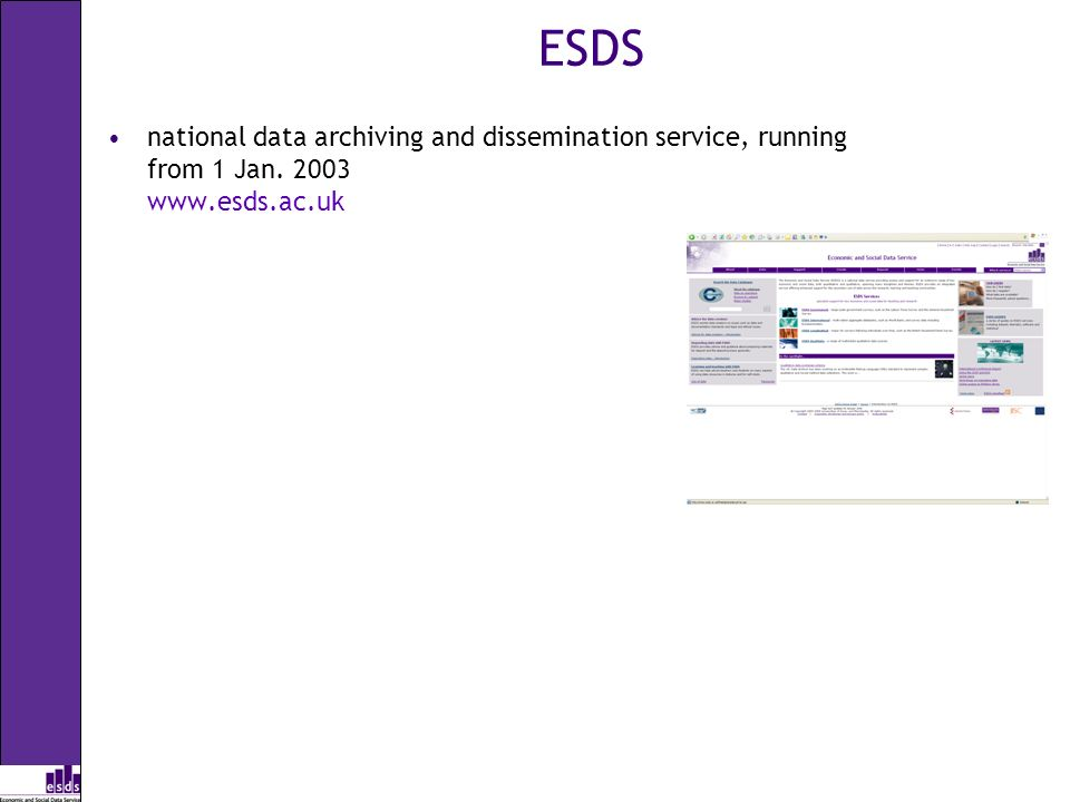 ESDS national data archiving and dissemination service, running from 1 Jan. 2003 www.esds.ac.uk