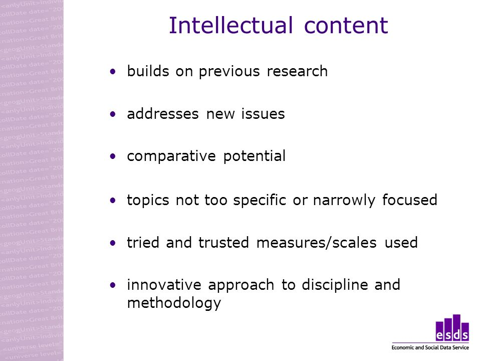 Intellectual content builds on previous research addresses new issues comparative potential topics not too specific or narrowly focused tried and trus