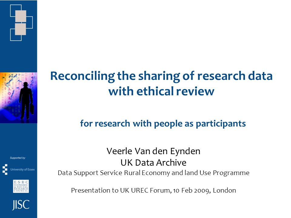 Tensions between data sharing, data protection and ethical review researchers unable to share social science research data due to confidentiality agreements with research participants / interviewees researchers confused about different messages regarding data protection and data sharing research funding bodies increasingly encourage or impose data sharing (based on OECD guidelines) How can we work together to better inform researchers and to enable data sharing.