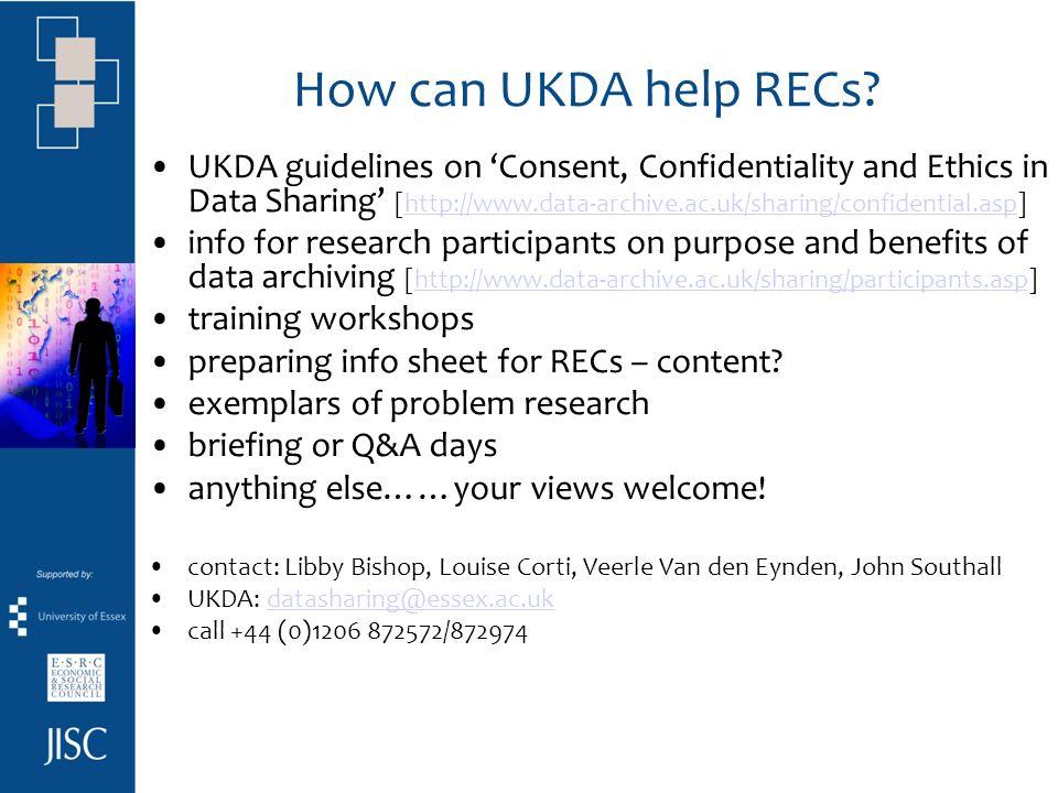How can UKDA help RECs.