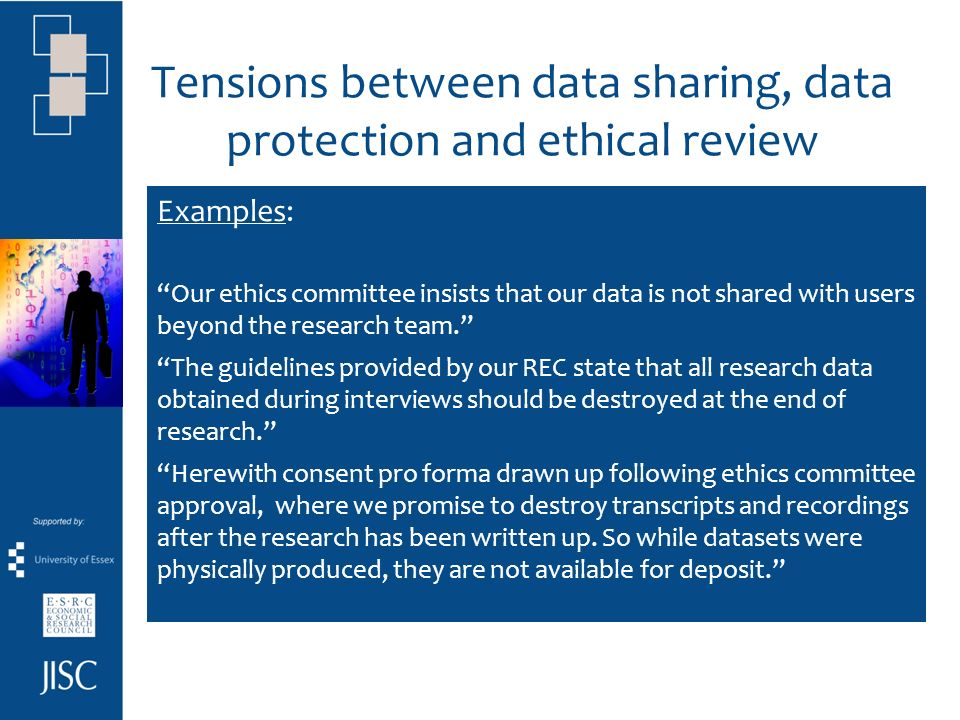 Tensions between data sharing, data protection and ethical review researchers unable to share social science research data due to confidentiality agre