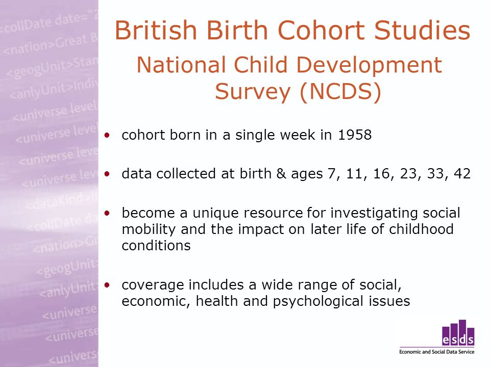 British Birth Cohort Studies National Child Development Survey (NCDS) cohort born in a single week in 1958 data collected at birth & ages 7, 11, 16, 23, 33, 42 become a unique resource for investigating social mobility and the impact on later life of childhood conditions coverage includes a wide range of social, economic, health and psychological issues