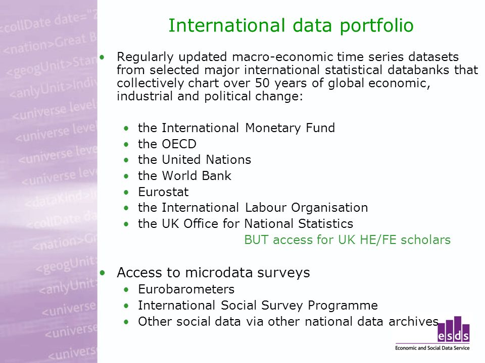 International data portfolio Regularly updated macro-economic time series datasets from selected major international statistical databanks that collectively chart over 50 years of global economic, industrial and political change: the International Monetary Fund the OECD the United Nations the World Bank Eurostat the International Labour Organisation the UK Office for National Statistics BUT access for UK HE/FE scholars Access to microdata surveys Eurobarometers International Social Survey Programme Other social data via other national data archives