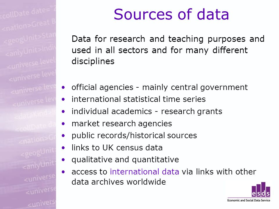 AHDS History National service funded by UK tertiary education sector Joint Information Systems Committee (JISC) Arts and Humanities Research Board (AHRB) Founded in 1993 Based in the UK Data Archive at the University of Essex Team of four historians and IT specialists