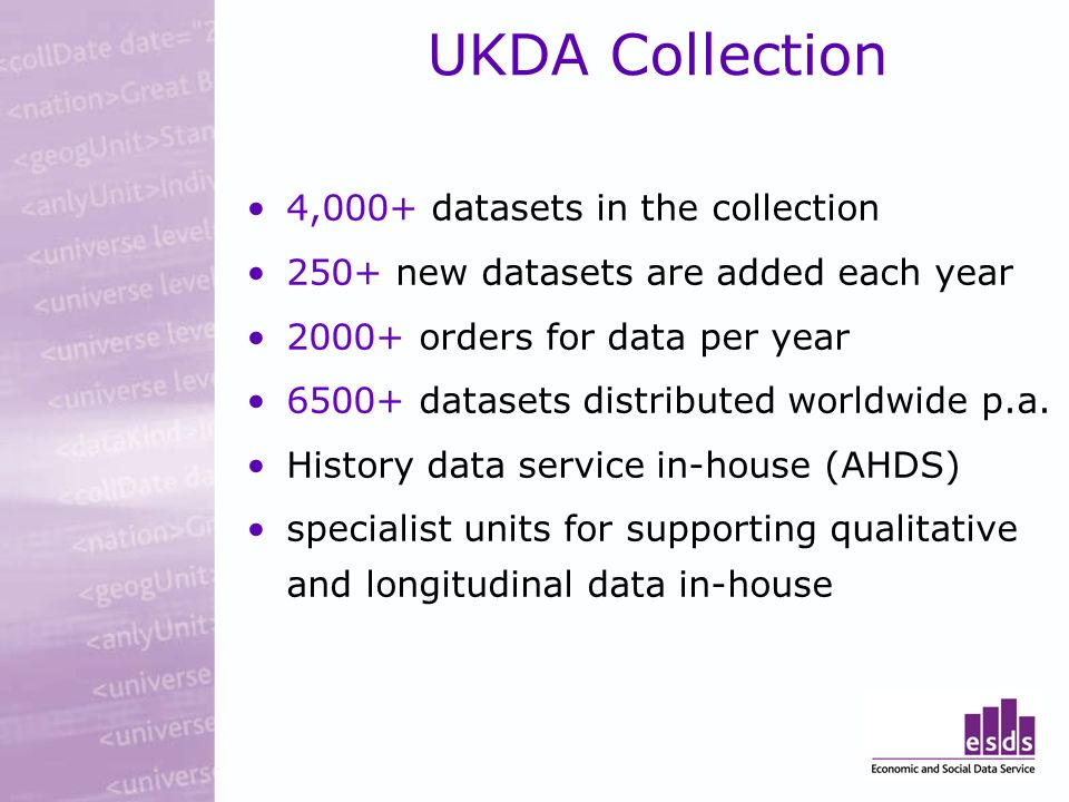 UKDA Collection 4,000+ datasets in the collection 250+ new datasets are added each year 2000+ orders for data per year 6500+ datasets distributed worldwide p.a.