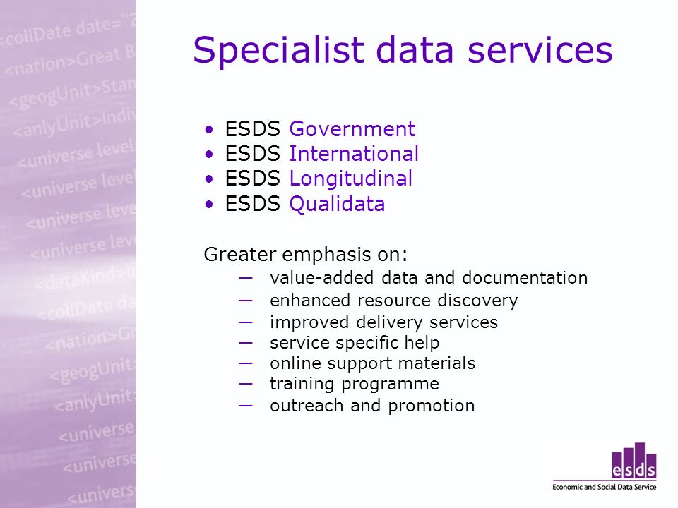 Specialist data services ESDS Government ESDS International ESDS Longitudinal ESDS Qualidata Greater emphasis on: value-added data and documentation enhanced resource discovery improved delivery services service specific help online support materials training programme outreach and promotion