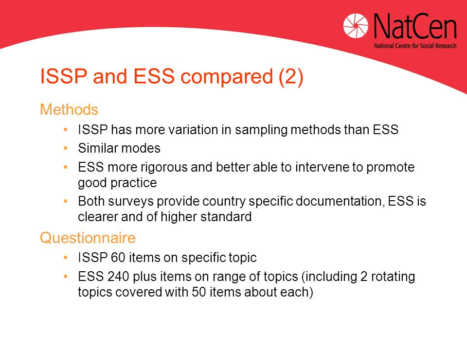 ISSP and ESS compared (2) Methods ISSP has more variation in sampling methods than ESS Similar modes ESS more rigorous and better able to intervene to promote good practice Both surveys provide country specific documentation, ESS is clearer and of higher standard Questionnaire ISSP 60 items on specific topic ESS 240 plus items on range of topics (including 2 rotating topics covered with 50 items about each)