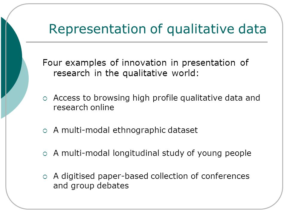 Qualidata Online The interactive face of ESDS Qualidata moves beyond catalogue searching and data download to allow web-based free-text and filtered searching, browsing and retrieval of research data in real time.
