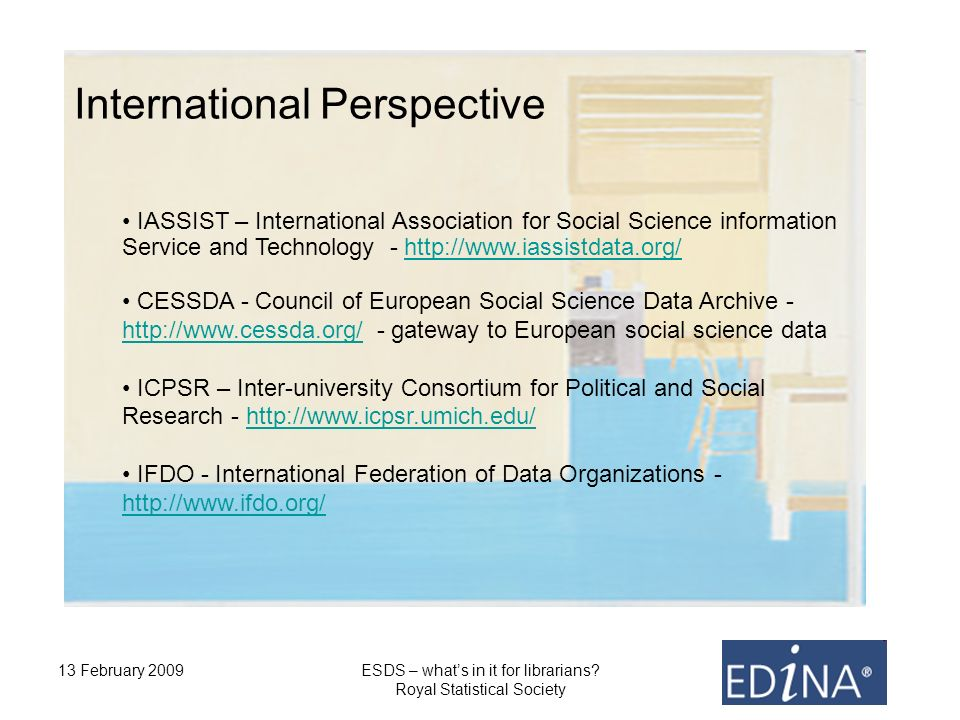 13 February 2009ESDS – whats in it for librarians.
