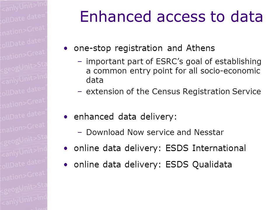 Enhanced access to data one-stop registration and Athens –important part of ESRCs goal of establishing a common entry point for all socio-economic dat