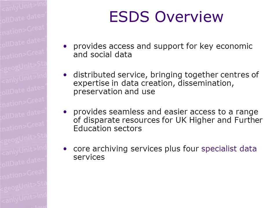ESDS: supporting research and teaching service specific help for each service –help desk, FAQs, analysis support generating new researchers –series of workshops around the country teaching datasets, online samplers discussion lists, newsletters