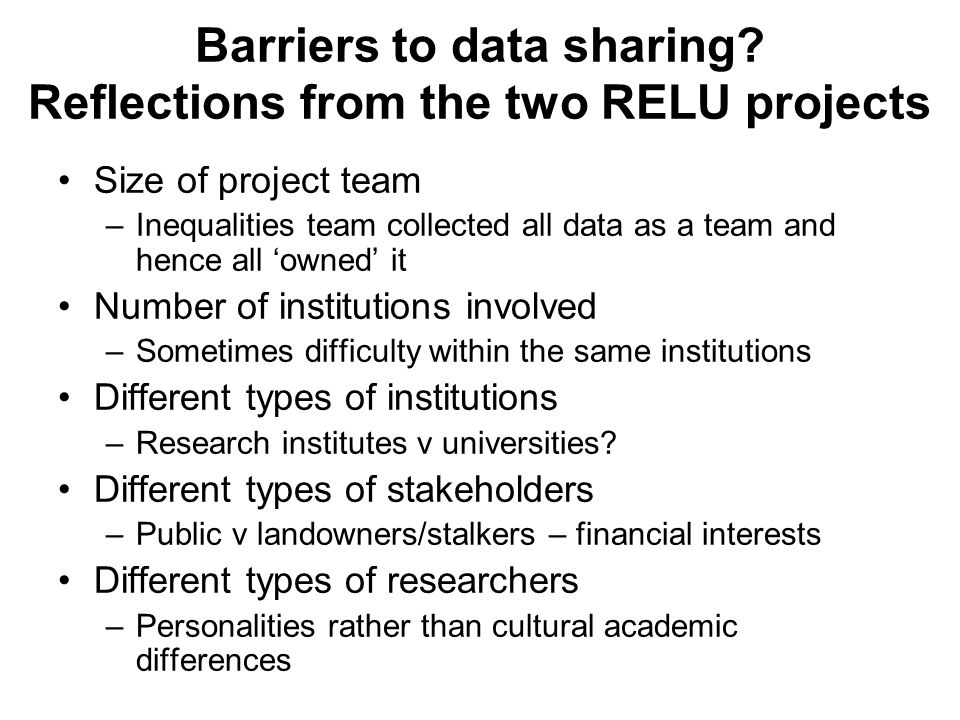Barriers to data sharing.