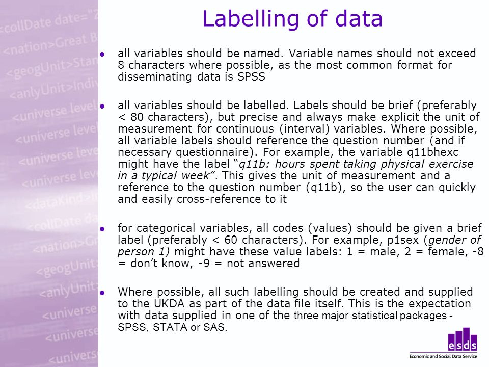 Labelling of data all variables should be named.