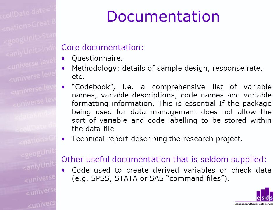 Documentation Core documentation: Questionnaire.