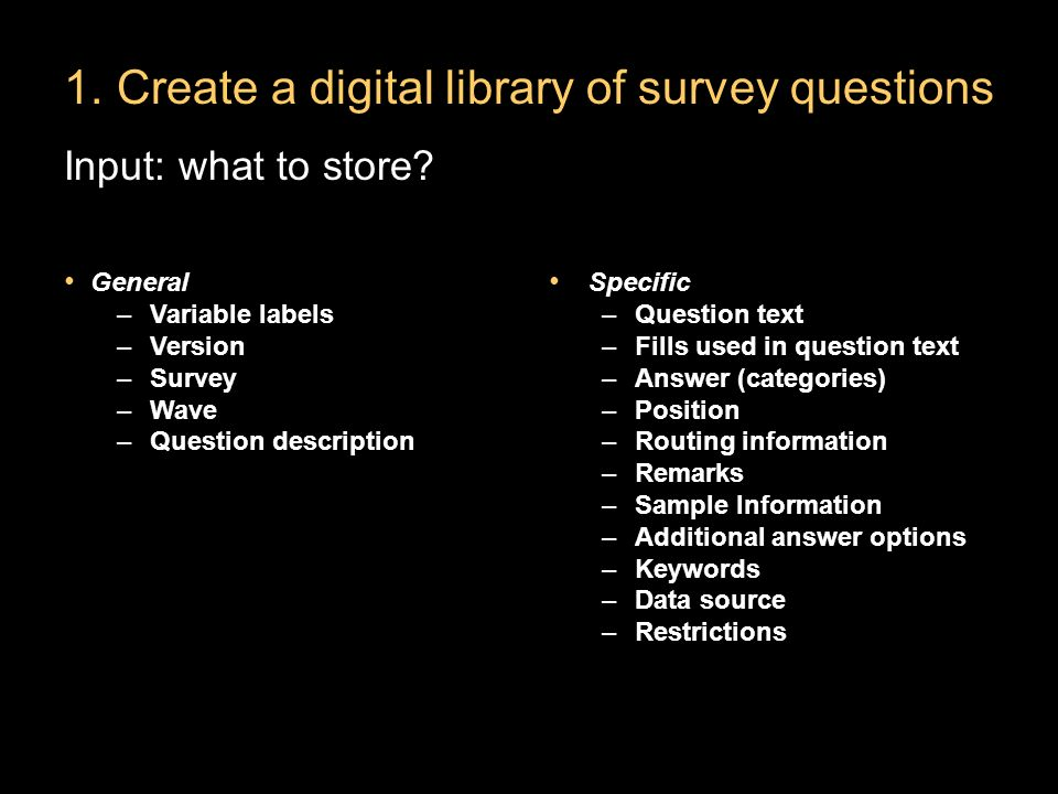 1.Create a digital library of survey questions Input: what to store.