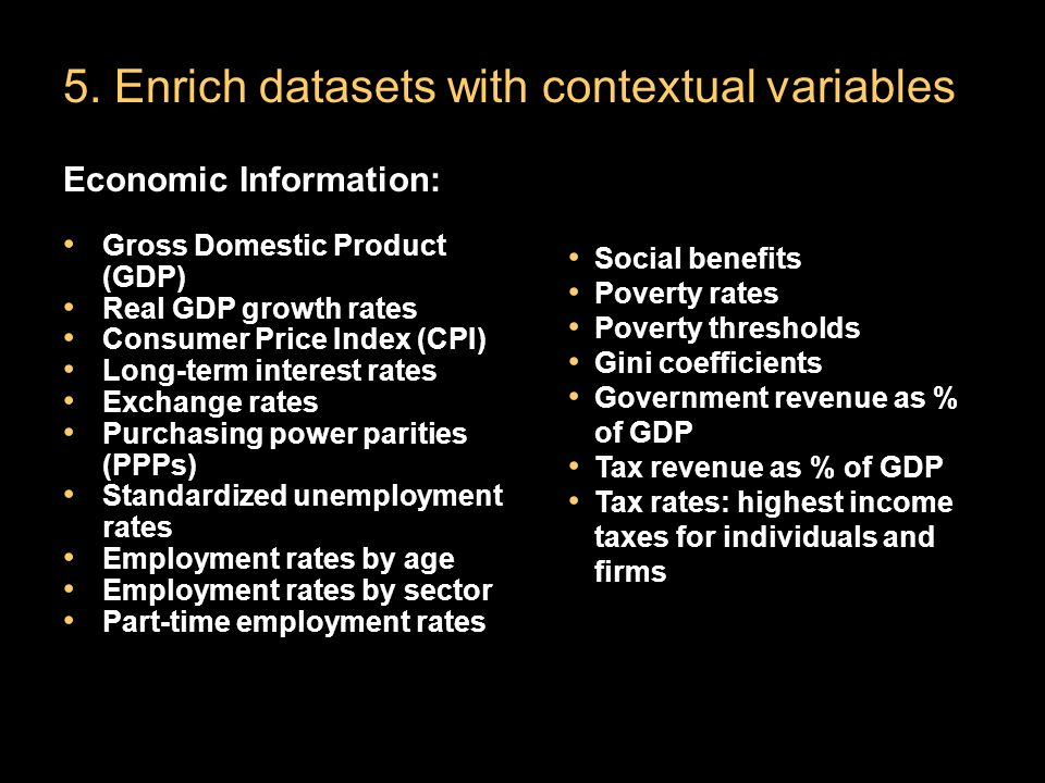 5. Enrich datasets with contextual variables Economic Information: Gross Domestic Product (GDP) Real GDP growth rates Consumer Price Index (CPI) Long-